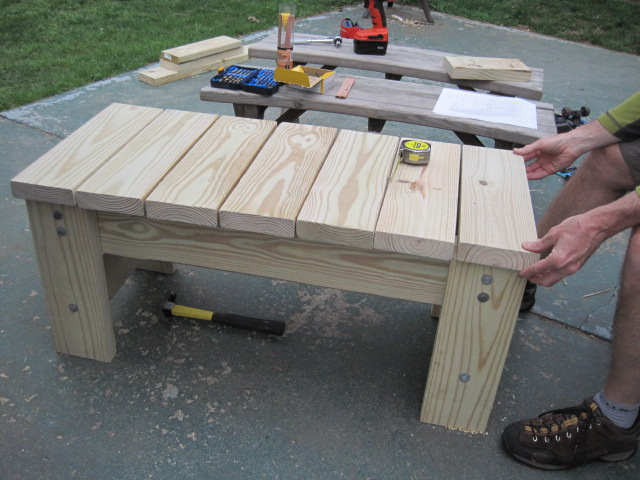 Diy Furniture My Husband S Homemade Patio Bench Two Frugal Fairfielders