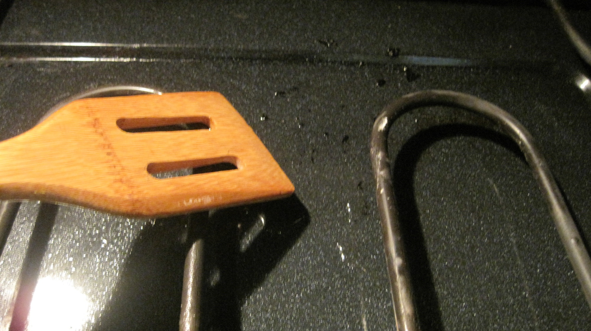 One little stubborn burnt-on part was no match for my wooden spatula.