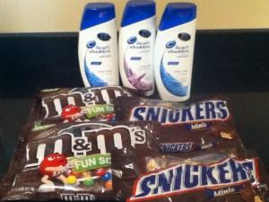 shampoo and candy