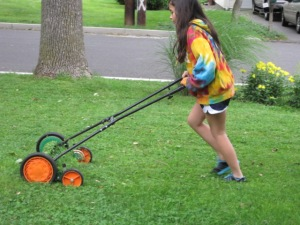 First push mower lesson for our daughter.