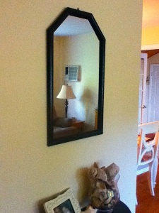 spray painted mirror