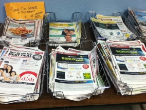 coupon exchange table at Fairfield Woods Branch library