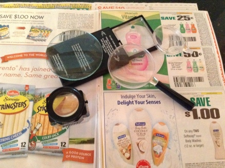coupons and magnifying items