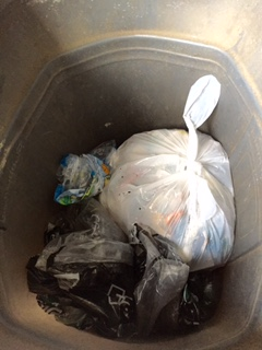 Two more kitchen garbage bags will make this bin full.