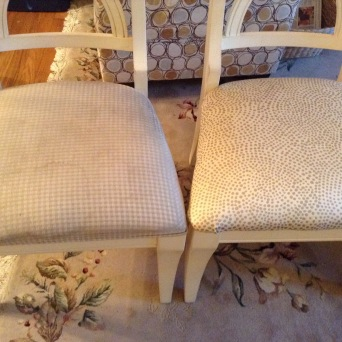 Just to show you an old versus new cushion (uh, old on left, newly covered on right).